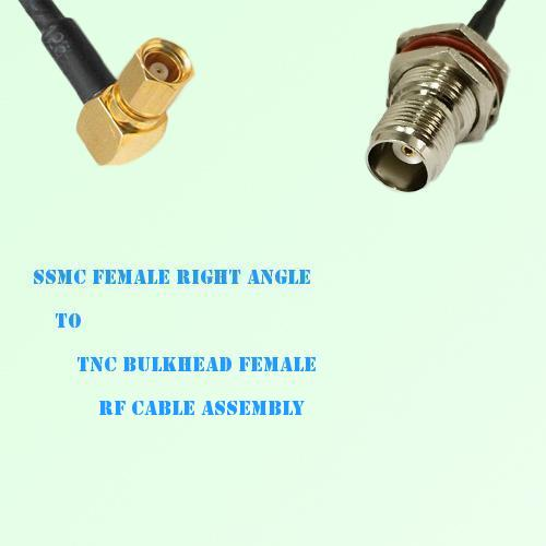 SSMC Female Right Angle to TNC Bulkhead Female RF Cable Assembly