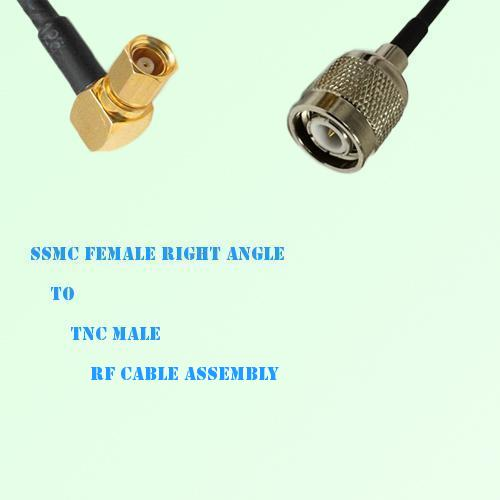 SSMC Female Right Angle to TNC Male RF Cable Assembly