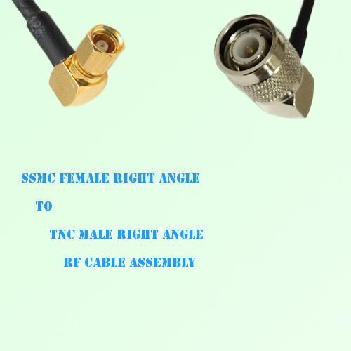 SSMC Female Right Angle to TNC Male Right Angle RF Cable Assembly