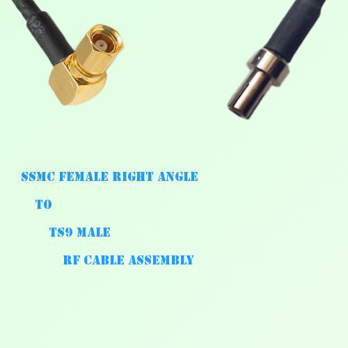 SSMC Female Right Angle to TS9 Male RF Cable Assembly