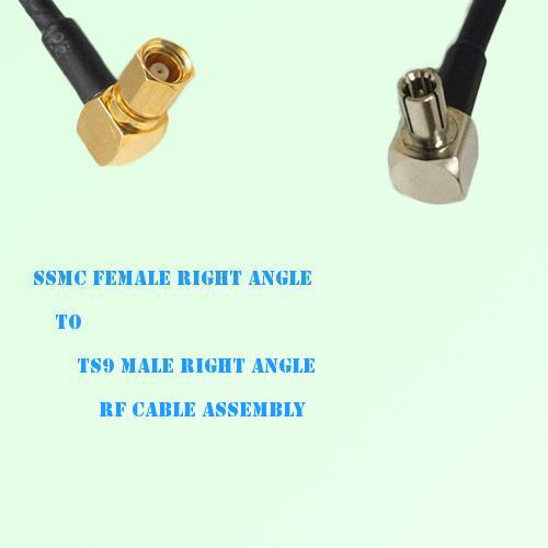 SSMC Female Right Angle to TS9 Male Right Angle RF Cable Assembly