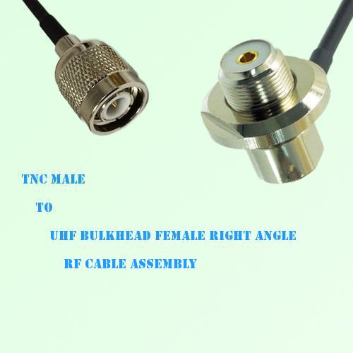 TNC Male to UHF Bulkhead Female Right Angle RF Cable Assembly
