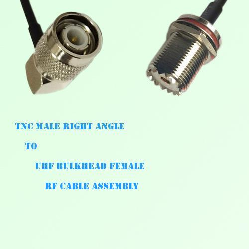 TNC Male Right Angle to UHF Bulkhead Female RF Cable Assembly