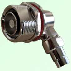 "7/16 DIN Bulkhead Female R/A Connector 1/4"" Corrugated Superflexible"