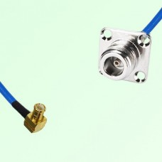 Semi-Flexible Jumper MCX Male Right Angle to N 4 Hole Panel Mount Female