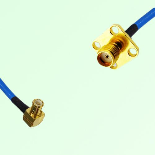 Semi-Flexible Jumper MCX Male Right Angle to SMA 4 Hole Panel Mount Female