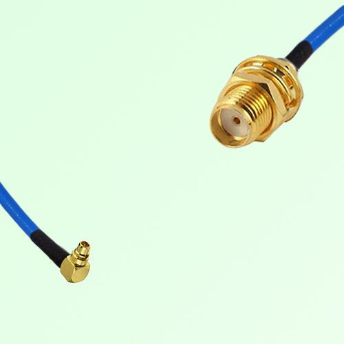 Semi-Flexible Jumper MMCX Male Right Angle to SMA Bulkhead Female