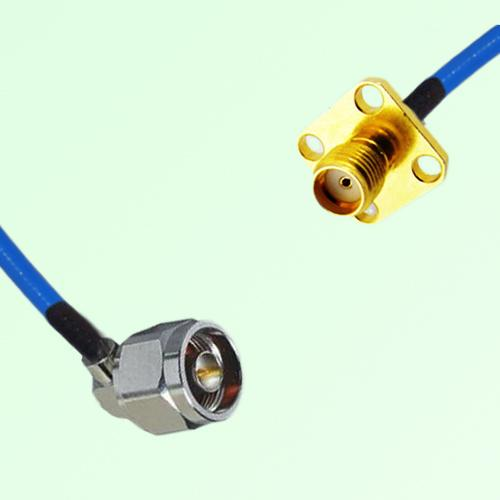 Semi-Flexible Jumper N Male Right Angle to SMA 4 Hole Panel Mount Female