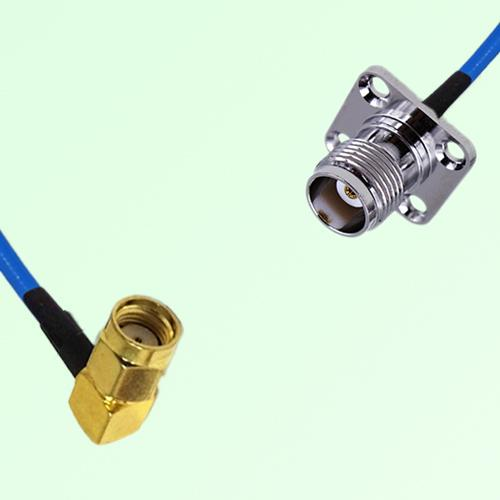 Semi-Flexible Jumper RP SMA Male Right Angle to TNC 4 Hole Panel Mount Female