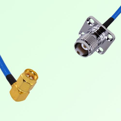 Semi-Flexible Jumper SMA Male Right Angle to TNC 4 Hole Panel Mount Female