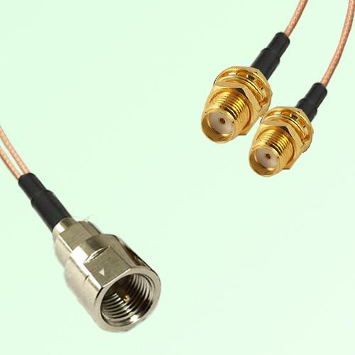 Splitter Y Type Cable FME Male to SMA Bulkhead Female