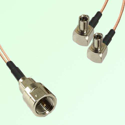 Splitter Y Type Cable FME Male to TS9 Male Right Angle