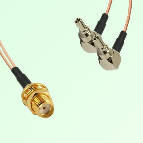 Splitter Y Type Cable SMA Bulkhead Female to CRC9 Male Right Angle