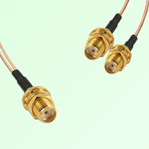Splitter Y Type Cable SMA Bulkhead Female to SMA Bulkhead Female