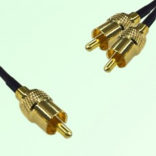 RCA Male to Two RCA Male Y Type Cable Assembly