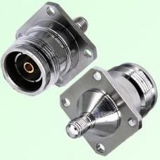 4 Hole Panel Mount 4.3/10 Mini DIN Female to SMA Female Adapter