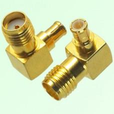 Right Angle MCX Male Plug to SMA Female Jack Adapter