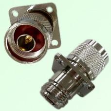 4 Hole Panel Mount N Female Jack to N Male Plug Adapter