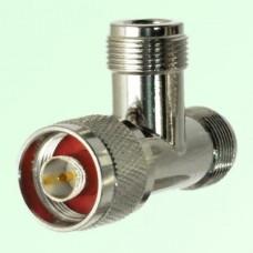 T Type  N Female Jack to N Male Plug to N Female Jack Adapter