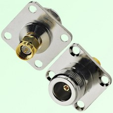 4 Hole Panel Mount N Female Jack to SMA Male Plug Adapter