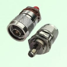 RF Adapter N Male Plug to SMA Bulkhead Female