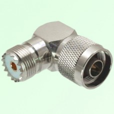 Right Angle N Male Plug to UHF SO239 Female Jack Adapter