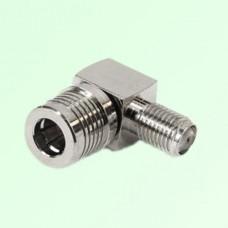 Right Angle QMA Male Plug to SMA Female Jack Adapter