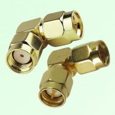 Right Angle RP SMA Male Plug to SMA Male Plug Adapter