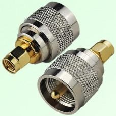 RF Adapter SMA Male Plug to UHF PL259 Male Plug