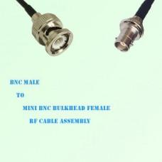BNC Male to Mini BNC Bulkhead Female RF Cable Assembly