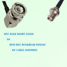 BNC Male Right Angle to Mini BNC Bulkhead Female RF Cable Assembly