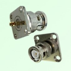 BNC Male 4 Hole Panel Mount Solder Cup Connector