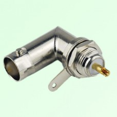 BNC Bulkhead Female Front Mount Right Angle Solder Cup Connector
