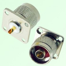 N Male 4 Hole Panel Mount Solder Cup Connector