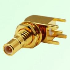 SMB Bulkhead Male Right Angle PCB Mount Connector