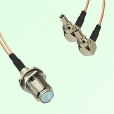 Splitter Y Type Cable F Bulkhead Female to CRC9 Male Right Angle