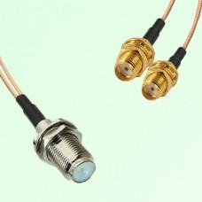 Splitter Y Type Cable F Bulkhead Female to SMA Bulkhead Female