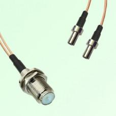 Splitter Y Type Cable F Bulkhead Female to TS9 Male