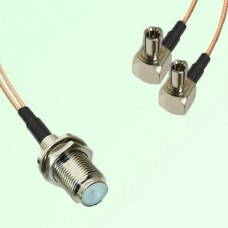 Splitter Y Type Cable F Bulkhead Female to TS9 Male Right Angle