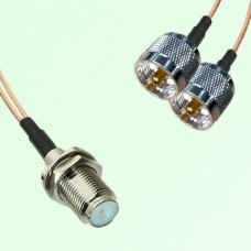 Splitter Y Type Cable F Bulkhead Female to UHF Male