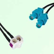 Splitter Y Cable FAKRA SMB Double B Female R/A to FAKRA SMB Z Male