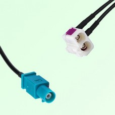 Splitter Y Cable FAKRA SMB Z Male to FAKRA SMB Double B Female R/A