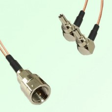 Splitter Y Type Cable FME Male to CRC9 Male Right Angle
