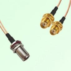 Splitter Y Type Cable N Bulkhead Female to SMA Bulkhead Female