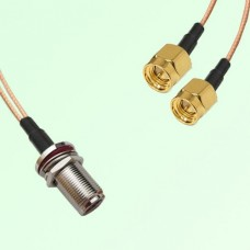 Splitter Y Type Cable N Bulkhead Female to SMA Male
