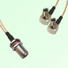 Splitter Y Type Cable N Bulkhead Female to TS9 Male Right Angle