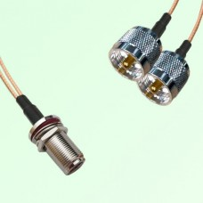 Splitter Y Type Cable N Bulkhead Female to UHF Male