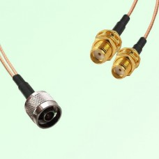 Splitter Y Type Cable N Male to SMA Bulkhead Female