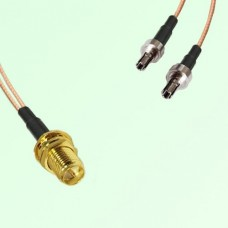 Splitter Y Type Cable RP SMA Bulkhead Female to CRC9 Male