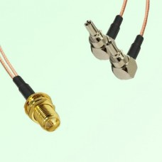 Splitter Y Type Cable RP SMA Bulkhead Female to CRC9 Male Right Angle